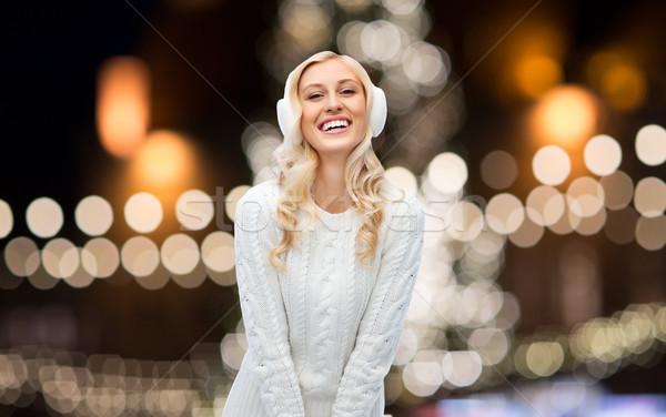 Felice donna Natale luci vacanze persone Foto d'archivio © dolgachov