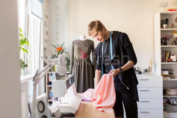 Сток-фото: моде · дизайнера · ткань · платье · студию