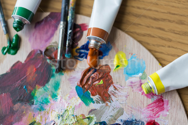 Acryl kleur verf palet Stockfoto © dolgachov