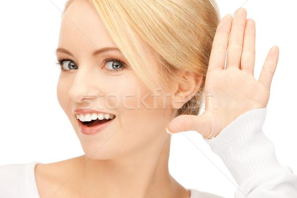 Stock photo: woman listening gossip