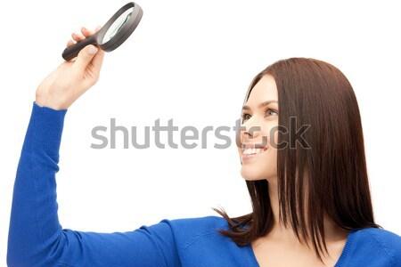 Сток-фото: женщину · увеличительное · стекло · фотография · красивая · женщина · лице · исследование