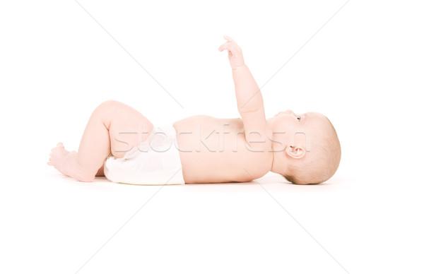 Fektet baba fiú pelenka kép fehér Stock fotó © dolgachov