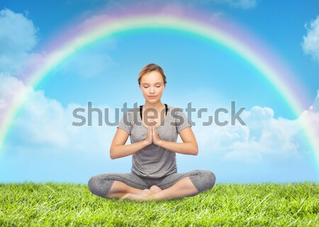 meditation with rainbow Stock photo © dolgachov