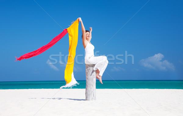 ストックフォト: 幸せ · 女性 · ビーチ · カラフル · 空 · 水