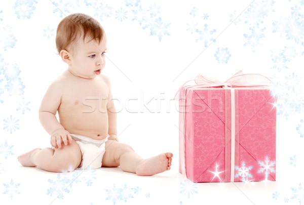 Stock fotó: Baba · fiú · pelenka · nagy · ajándék · doboz · hópelyhek
