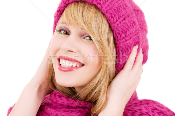 Сток-фото: счастливым · Hat · зима · белый · женщину