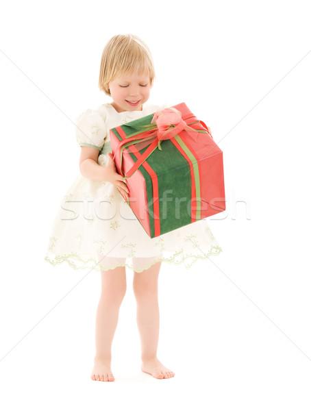 Zdjęcia stock: Dziewczyna · szkatułce · zdjęcie · biały · dziecko · urodziny