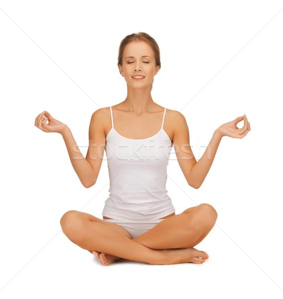 женщину хлопка белье йога девушки Сток-фото © dolgachov