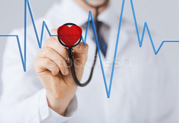 doctor listening to heart beat Stock photo © dolgachov