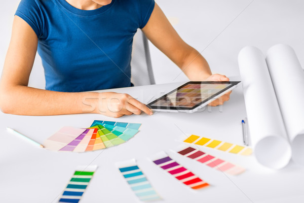 Stock photo: woman working with color samples for selection