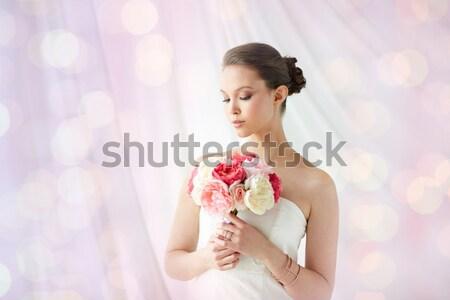 Сток-фото: женщину · букет · цветы · брак · цветочный