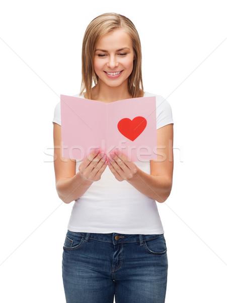 Uśmiechnięty dziewczyna pocztówkę miłości wakacje szczęścia Zdjęcia stock © dolgachov