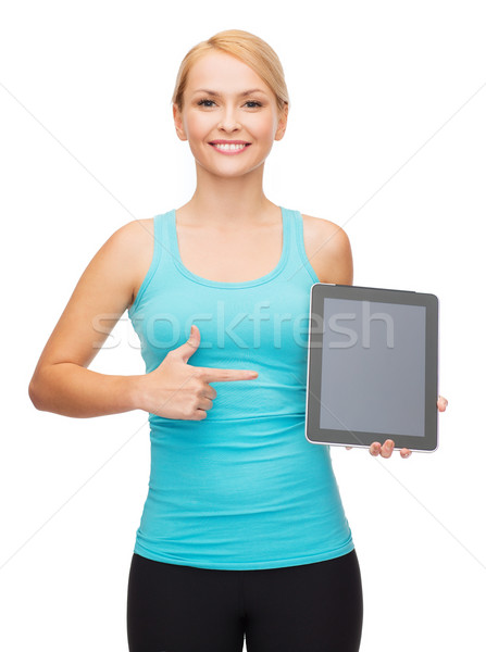 sporty woman with tablet pc blank screen Stock photo © dolgachov