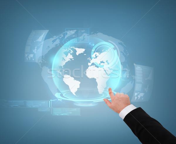 Közelkép üzletember mutat földgömb hologram üzlet Stock fotó © dolgachov