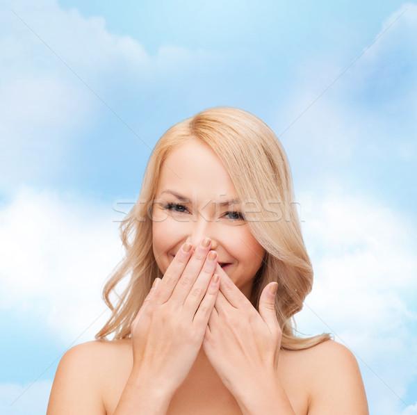 Gyönyörű nő befogja száját fürdő egészség szépség arc Stock fotó © dolgachov