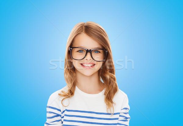 Сток-фото: улыбаясь · Cute · девочку · черный · очки · образование