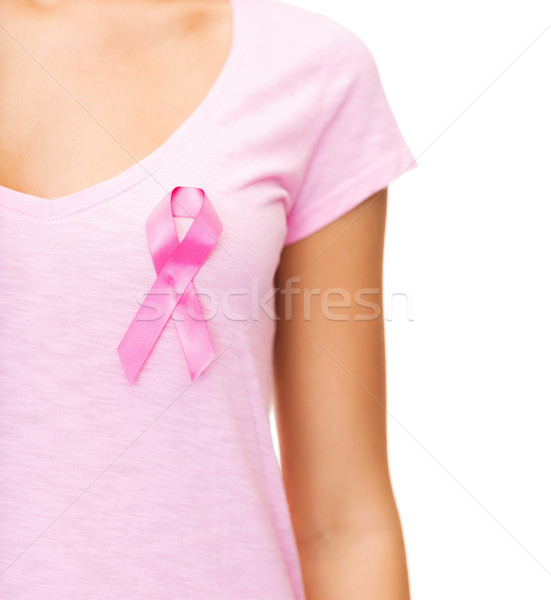 woman with pink cancer awareness ribbon Stock photo © dolgachov
