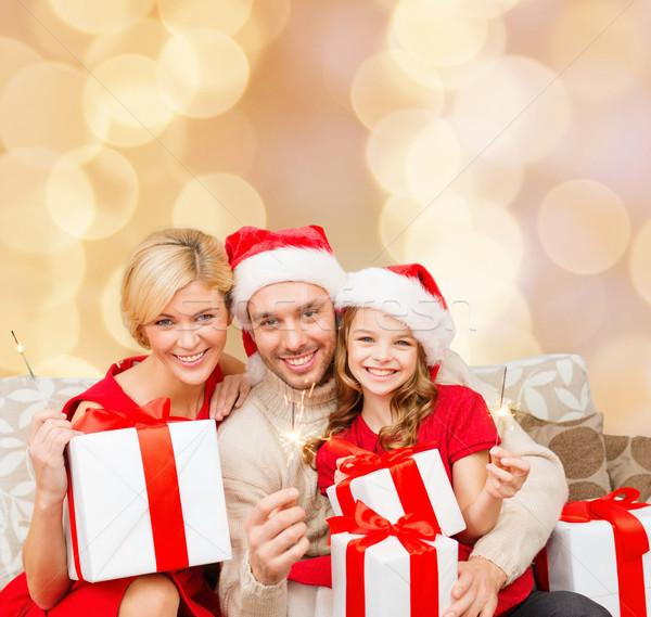 Gelukkig gezin helper hoeden christmas Stockfoto © dolgachov