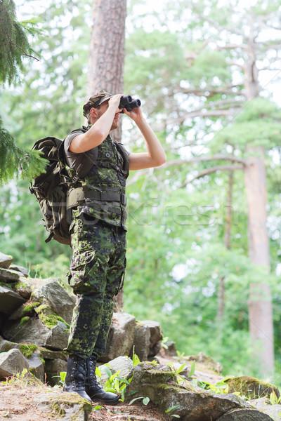 兵士 リュックサック 森林 狩猟 戦争 軍 ストックフォト © dolgachov