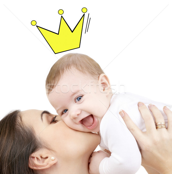 Boldog anya csók tart baba emberek Stock fotó © dolgachov