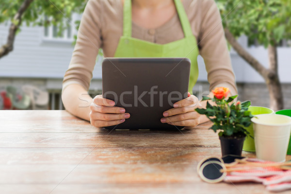 close up of woman or gardener holding tablet pc Stock photo © dolgachov