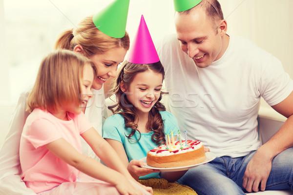 Stok fotoğraf: Gülen · aile · iki · çocuklar · kek