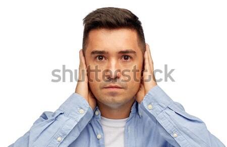 Twarz człowiek kłosie ręce problem emocji Zdjęcia stock © dolgachov