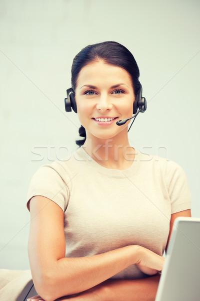 ヘルプライン 演算子 ラップトップコンピュータ 画像 ビジネス 女性 ストックフォト © dolgachov