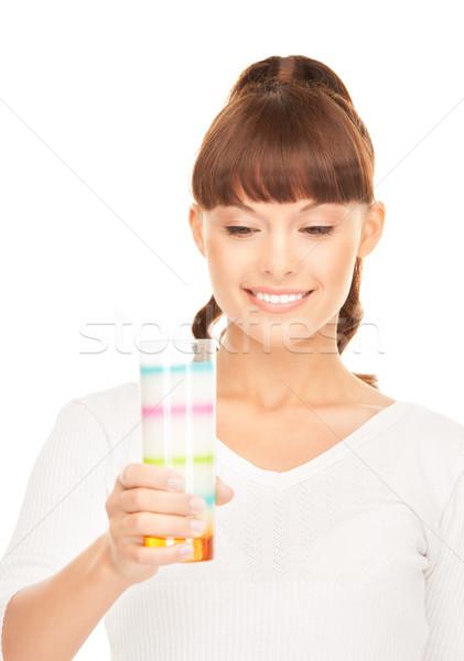 Mujer vidrio leche brillante Foto cara Foto stock © dolgachov
