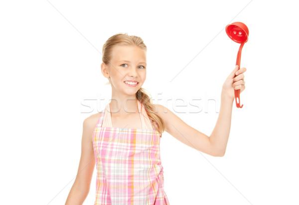 Kicsi háziasszony piros merőkanál kép lány Stock fotó © dolgachov