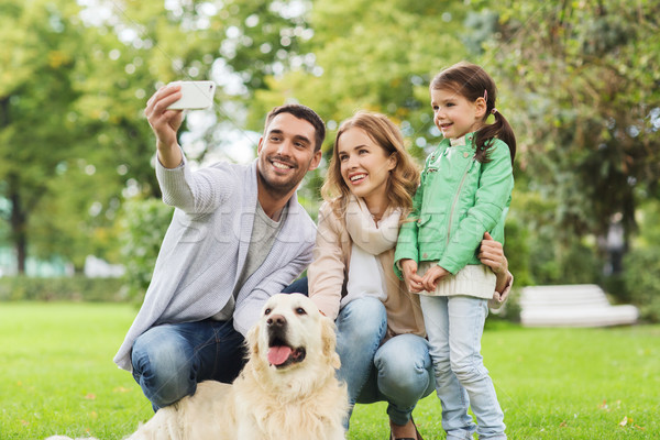 happy family with dog taking selfie by smartphone Stock photo © dolgachov