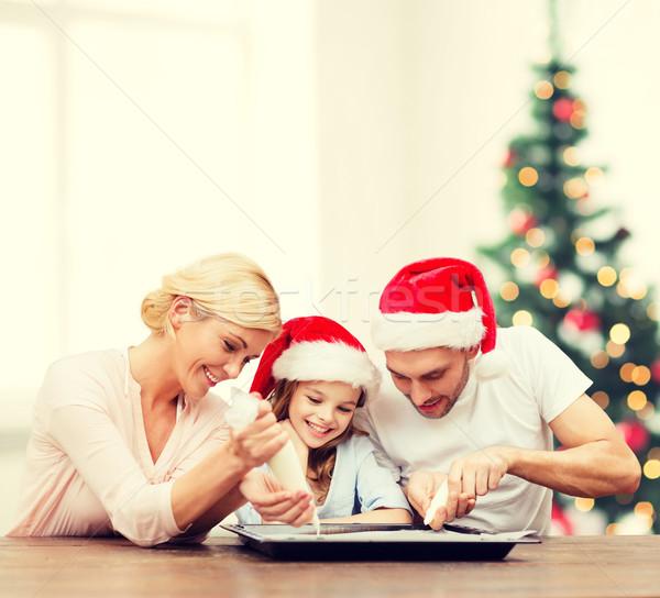 幸せな家族 サンタクロース ヘルパー クッキー ストックフォト © dolgachov