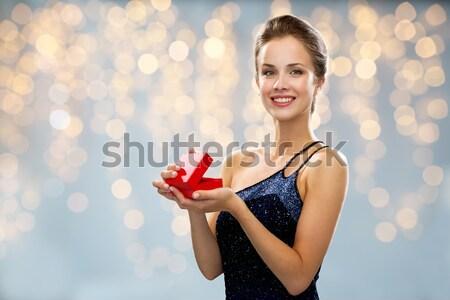 Belo mulher sexy soprar beijo luzes Foto stock © dolgachov