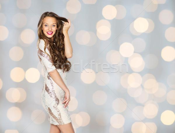 幸せ 若い女性 代 ドレス ライト 人 ストックフォト © dolgachov