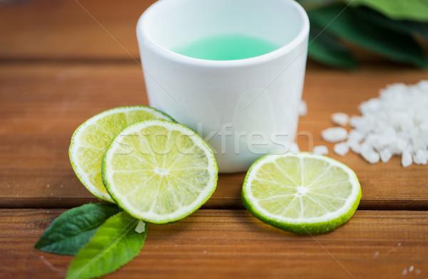Lichaam lotion beker hout Stockfoto © dolgachov