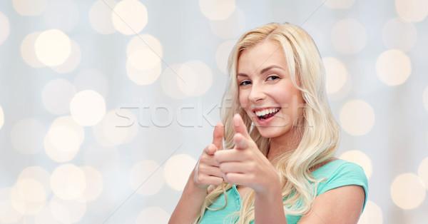 Stock fotó: Boldog · fiatal · nő · mutat · ujj · kézmozdulat · emberek