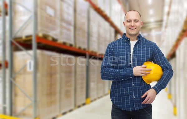 Stock fotó: Boldog · férfi · munkavédelmi · sisak · raktár · raktár · szállítmány