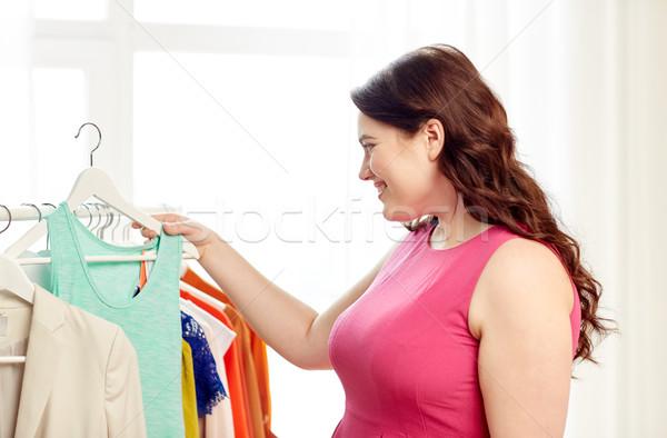 幸せ プラスサイズ 女性 服 ワードローブ ストックフォト © dolgachov