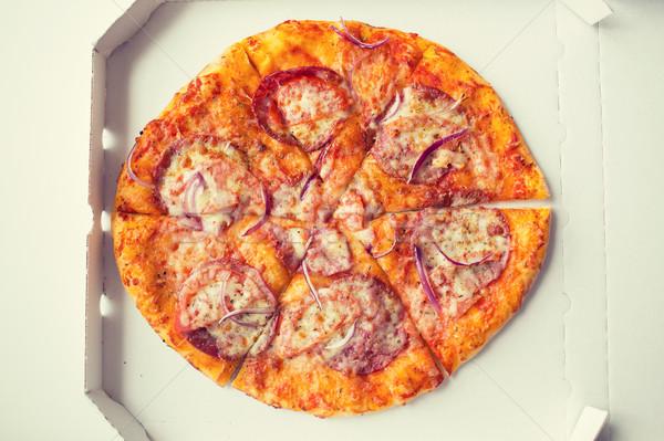 Pizza papier vak tabel fast food Stockfoto © dolgachov