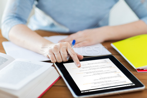close up of student with coding on tablet pc Stock photo © dolgachov