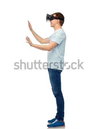 Foto d'archivio: Felice · uomo · virtuale · realtà · auricolare · occhiali · 3d