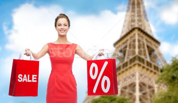 Kobieta Paryż Wieża Eiffla sprzedaży zniżka Zdjęcia stock © dolgachov