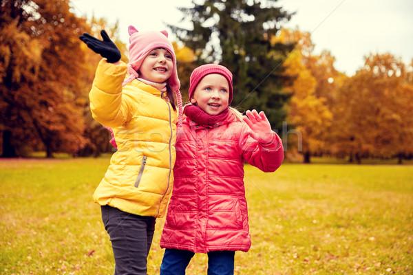 Kettő boldog kislányok integet kéz ősz Stock fotó © dolgachov