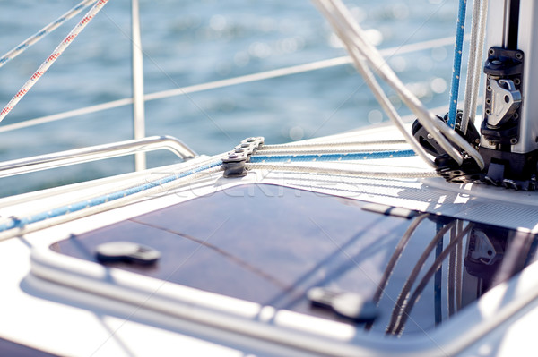 close up of sailboat or yacht hatch sailing in sea Stock photo © dolgachov
