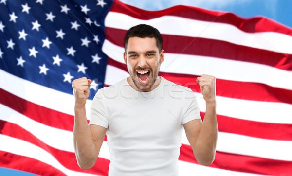 Сток-фото: сердиться · человека · американский · флаг · эмоций · агрессия