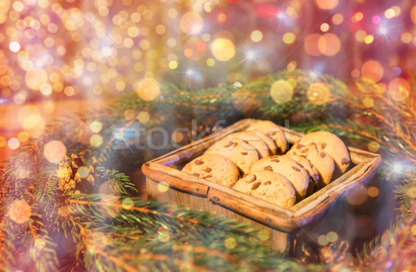 natural green fir christmas wreath and oat cookies Stock photo © dolgachov