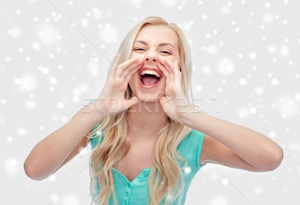 young woman or teenage girl shouting Stock photo © dolgachov
