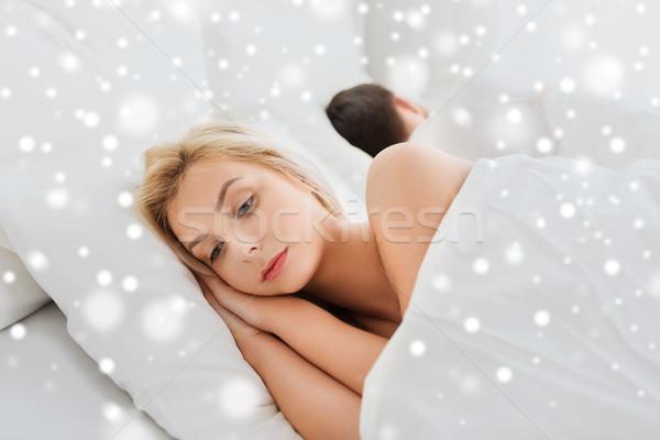 ストックフォト: 若い女性 · 不眠症 · 人 · 健康 · 睡眠