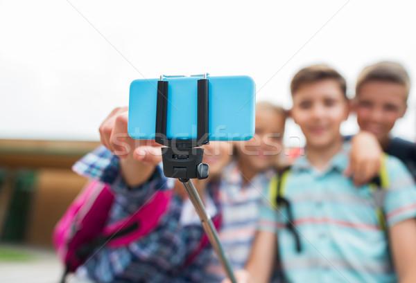 Foto stock: Feliz · escuela · primaria · estudiantes · toma · primario · educación
