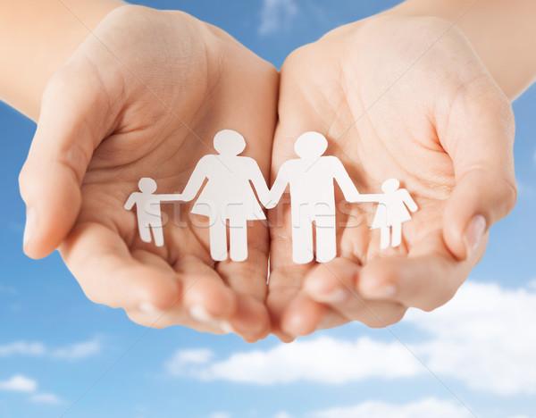 Ręce papieru rodziny piktogram Zdjęcia stock © dolgachov